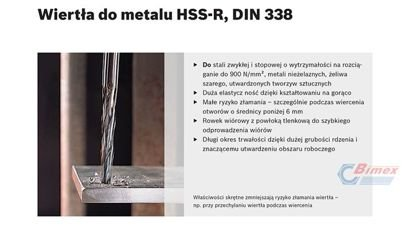 WIERTŁO DO METALU CZARNE HSS-R DIN 338 8,6